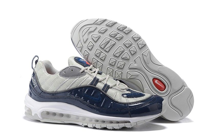7546e0502d5 Nike Air Max 98 x Supreme Navy Obsidian Blue Grey Cushioning Running Shoes  844694-400