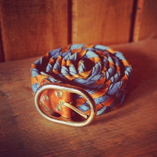 Vintage Woven Leather and Denim Belt by SINGEDandFRAYED on Etsy,