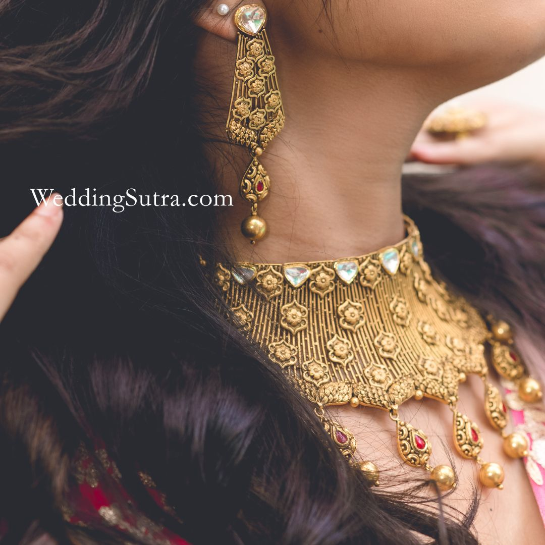 7e1ad6fbf6816 Azva statement gold jewellery on WeddingSutra bride #Goldjewellery ...