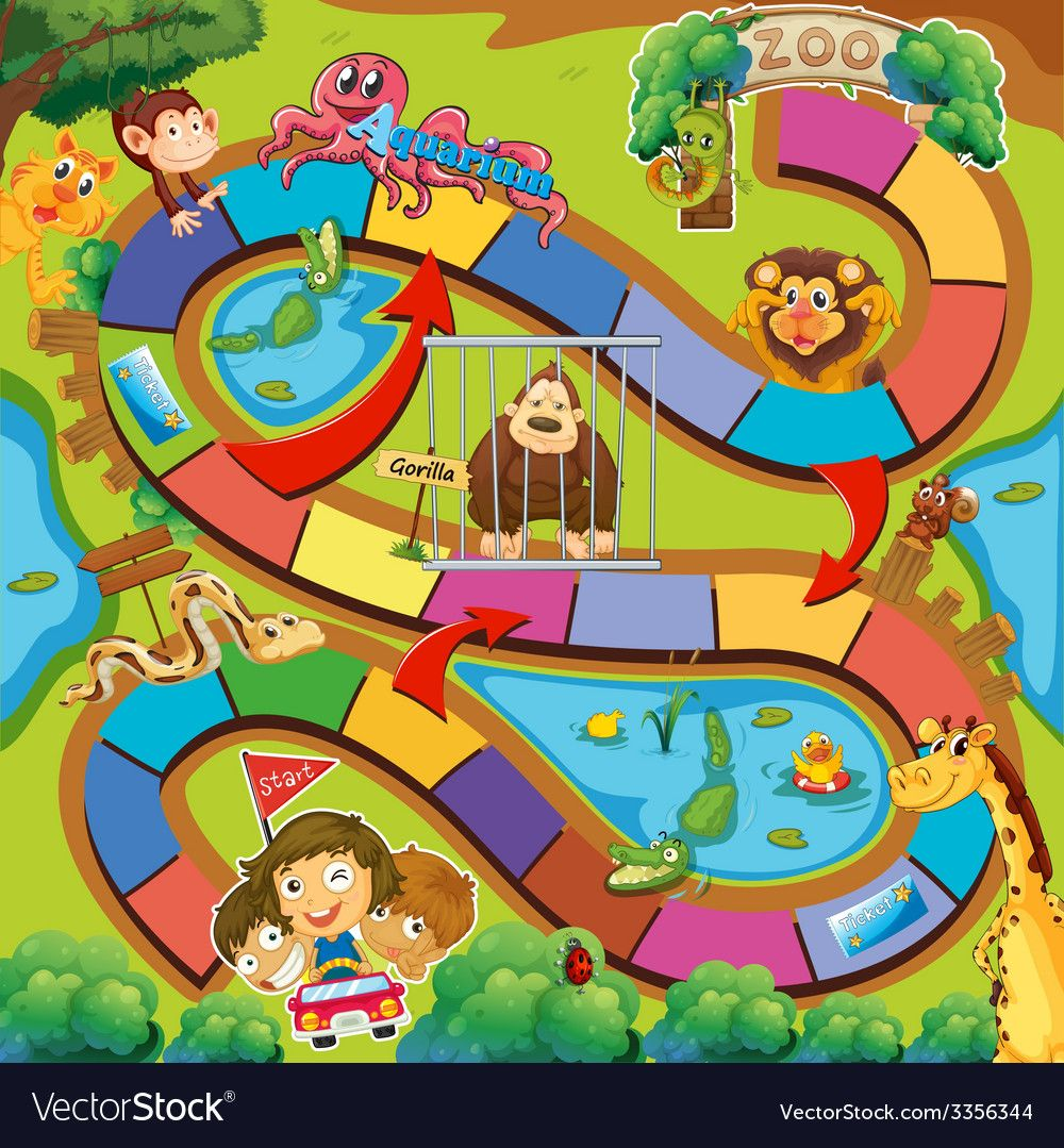 Animals zoo game vector image on Printable board games