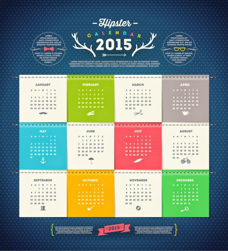 Freebie of the Day: Hipster Calendar 2015 Vector Graphics (esp) Download:…