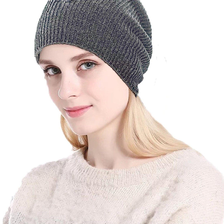 494963a221c40a Warm Winter Slouchy Beanie Unisex Soft Fleece Lined Thick Knit Skull Cap -  Gray - CP189KETKMW - Hats & Caps, Women's Hats & Caps, Skullies & Beanies  ...