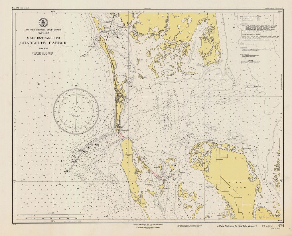 Map Of Gulf Coast Florida.Charlotte Harbor Florida Map 1947 Florida Gulf Of Mexico