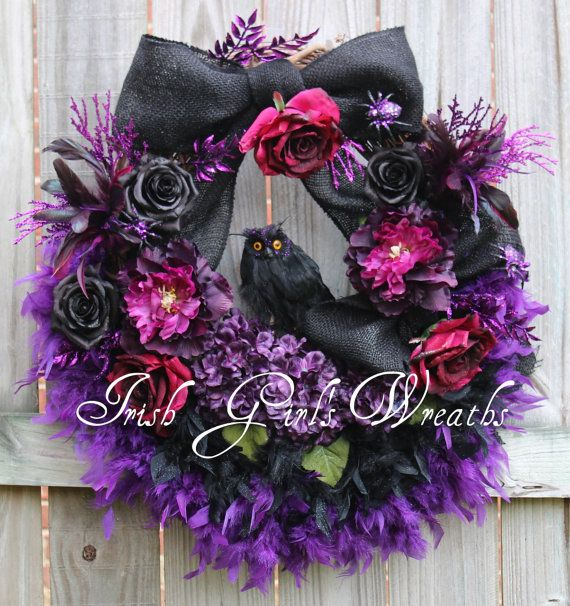 Magenta Purple & Black Owl Halloween Wreath, by IrishGirlsWreaths, $159.99