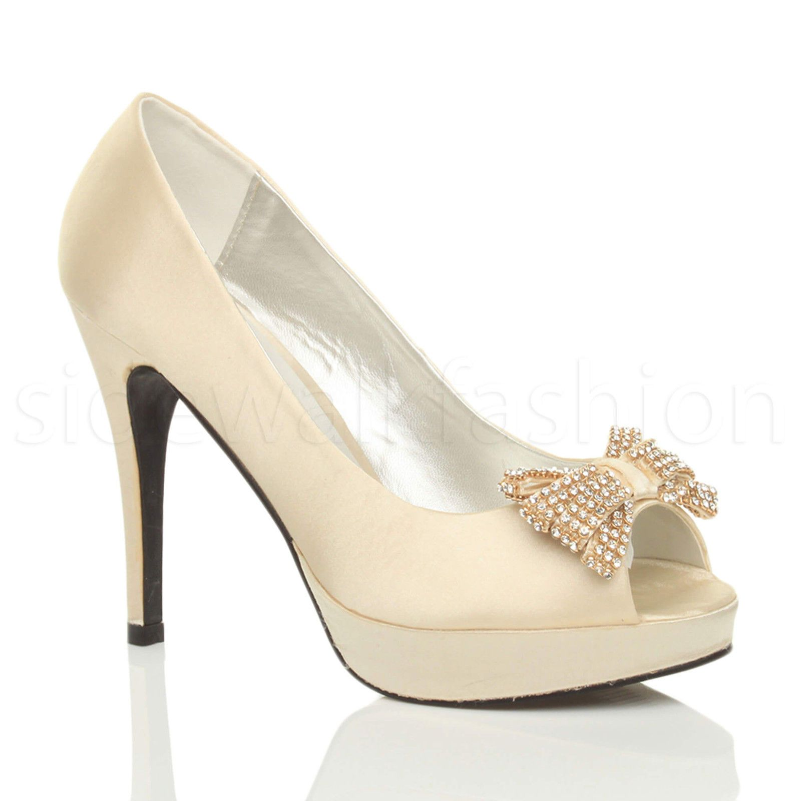 WOMENS LADIES HIGH HEEL BOW WEDDING EVENING PEEP TOE SHOES PLATFORM SANDALS SIZE