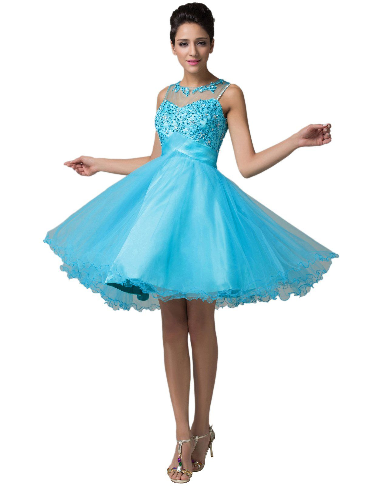 Grace karin blue homecoming dresses appliques short prom evening