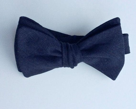 Midnight Linen Bow