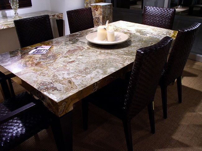 Italian Stone Red Onyx 9386 Dining Table Stone Dining Table