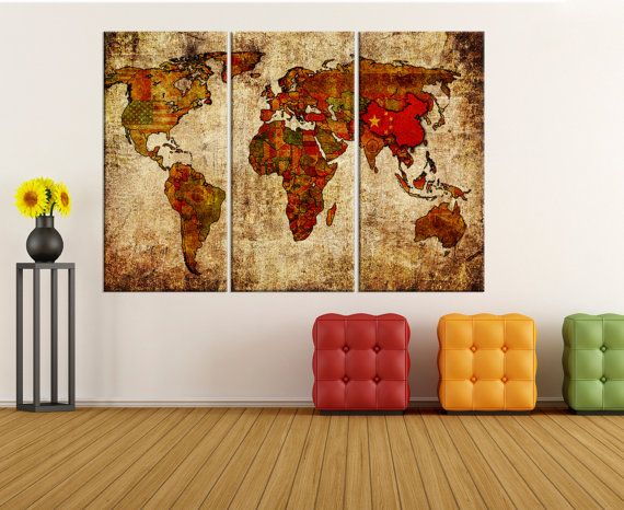 Large Wall Art For Living Room Rustic World Map With Flags Canvas Cool Large Artwork For Living Room Design Decoration