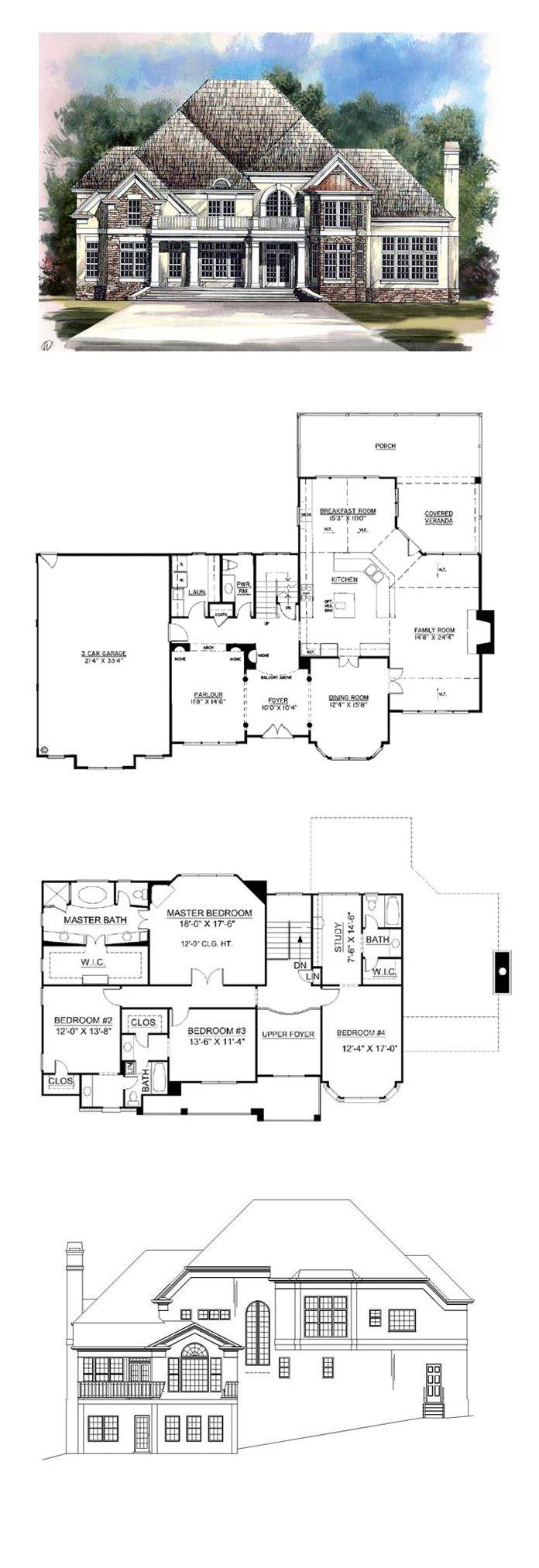 Tudor Style House Plan with 4 Bed 4 Bath 2 Car Garage
