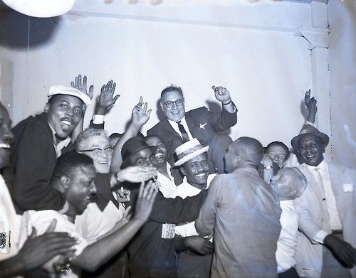 The Cab Driver's Unioncelebrates the election of their new president, Dominic Abata, 1961, Chicago.