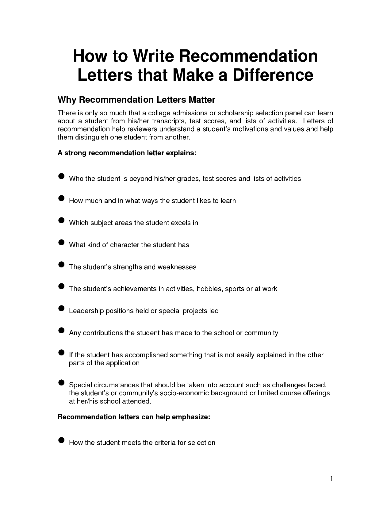Tips for Writing College Recommendation Letters