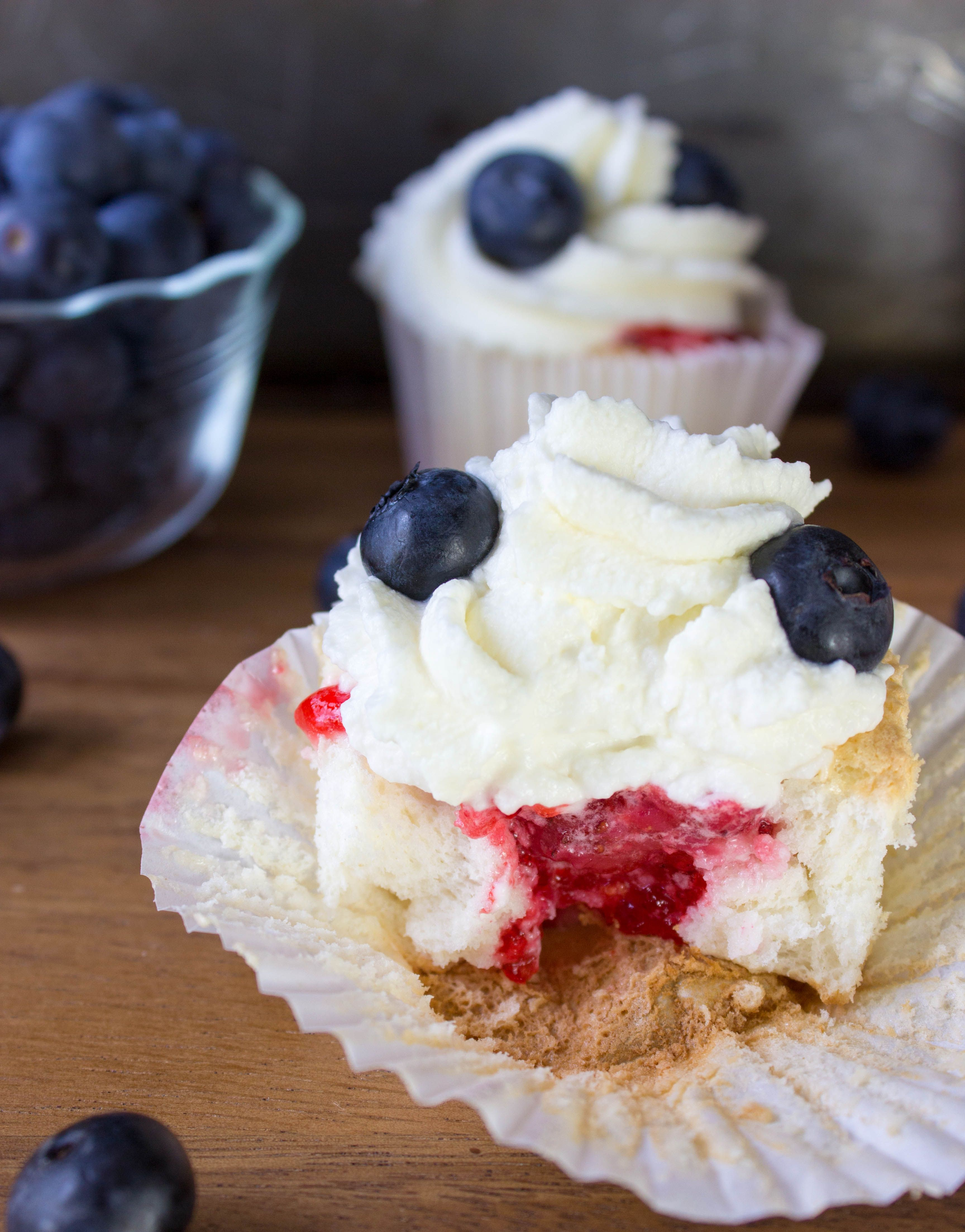 Strawberry Stuffed Angel Food Cupcakes--Red White and Blue for Memorial Day (or 4th of July)