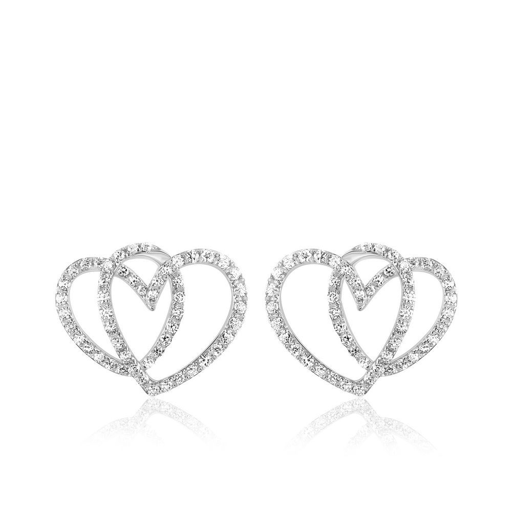 9e574c9d4 0.45 Ct Round Cut Real Diamond 14k Solid White Gold Double Heart Stud  Earrings #CaratsForYou #Stud