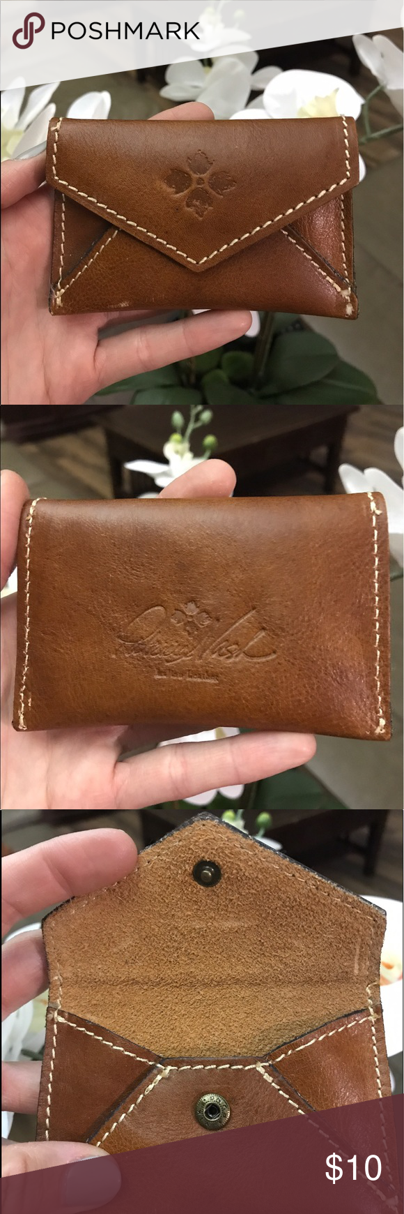 Patricia Nash Brown Leather Card Holder For Credit Cards Or Business