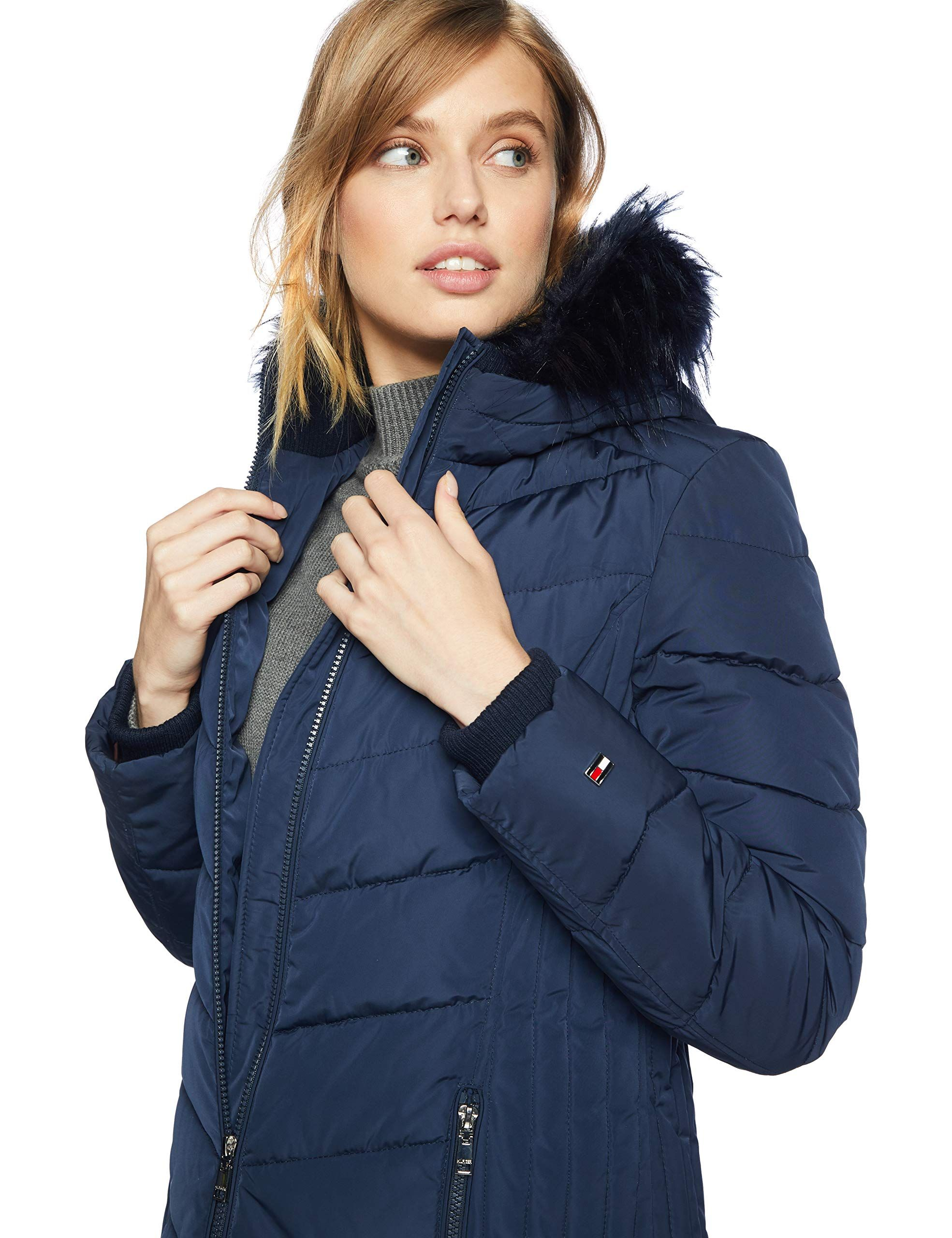 Tommy Hilfiger Womens Mid Length Down Alternative Jacket With Faux Fur Trim Hood Navy 18 L To View Further Puffer Jacket Women Coat Fashion Fur Hood Jacket [ 2560 x 1969 Pixel ]