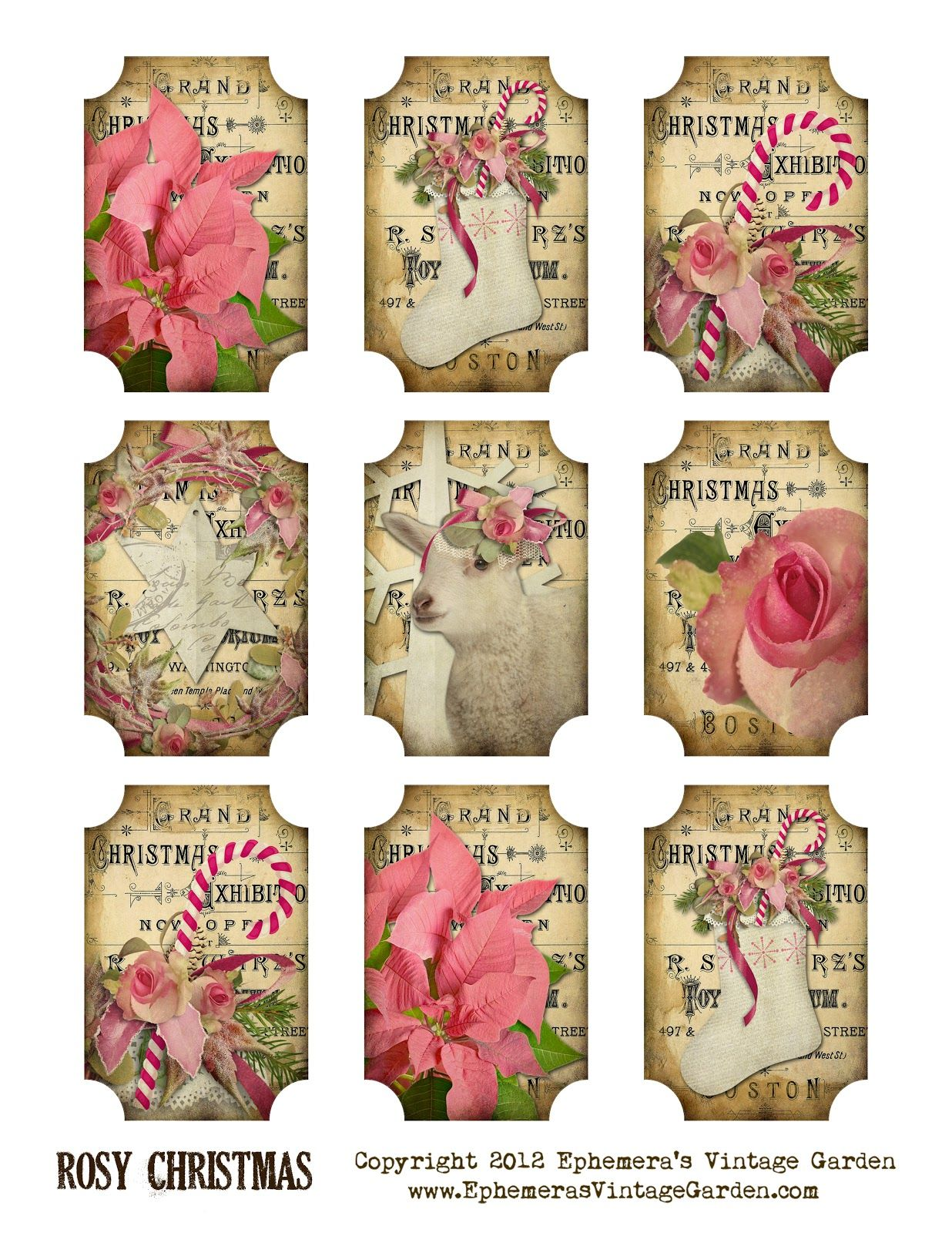 Making christmas gift tags free printable rosy christmas gift tags tags pinterest for Christmas tags on pinterest