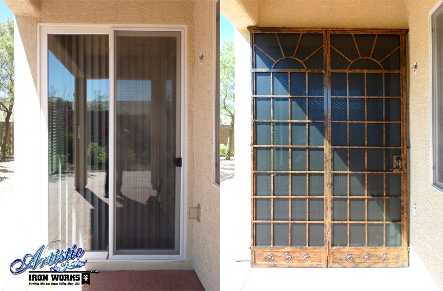 Before after of installation wrought iron patio security for Security patio screen doors