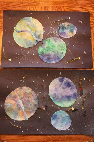 Colored coffee filter planets for space week summer for Planet crafts for kids