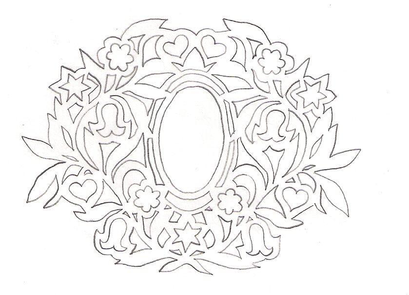 DIY: Floral wreath. Free Paper craft; stencil/template