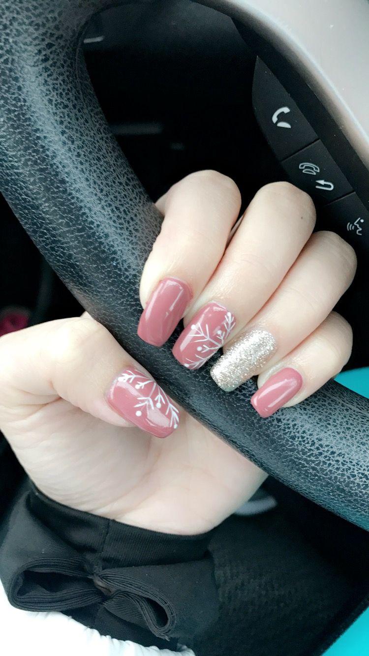 Rose Pink Gold Glitter Snowflake Nails Gel Polish Coffin Winter