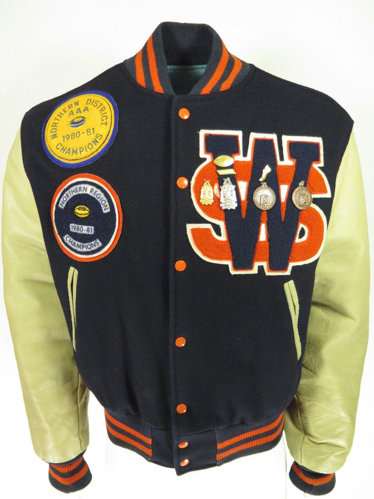 6ec31620655 Vtg 80s Varsity Virginia Football Letterman Jacket M or L Patch Wool  Leather
