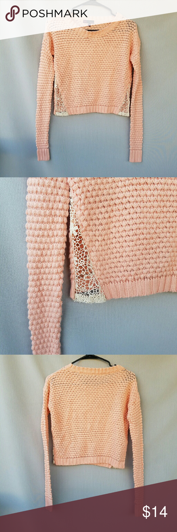 T/o Sweaters Blush Cropped Sweater Cute crochet panels on sides Excellent condition  Feel free to ask me any additional questions! Bundles 3+ 15% off. Happy Poshing! No trades, or modeling. t/o sweaters Sweaters
