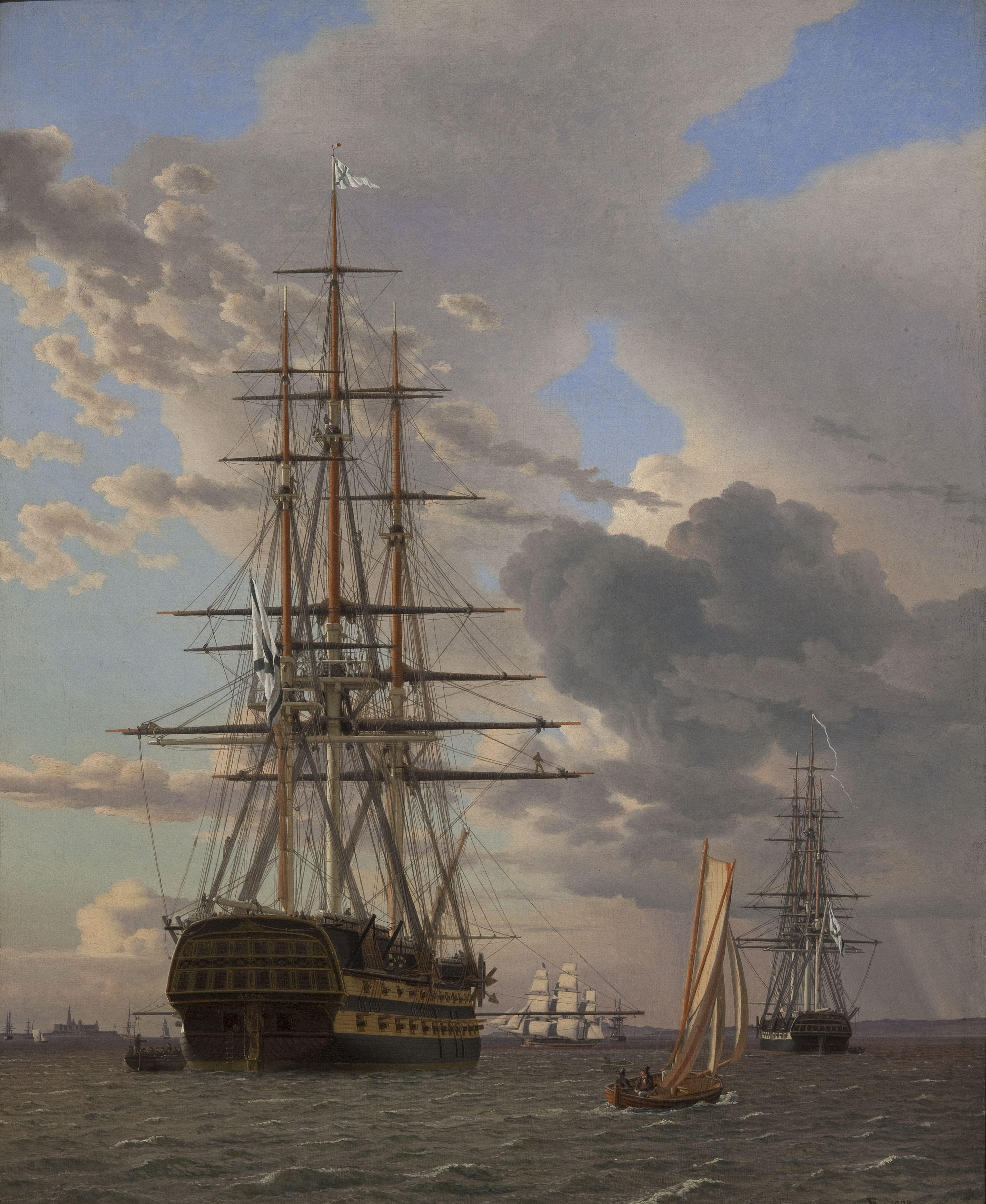"C.W. Eckersberg (1783-1853), Det russiske linieskib ""Asow"" og en fregat til ankers på Helsingør red, 1828.jpg (4043×4938)"