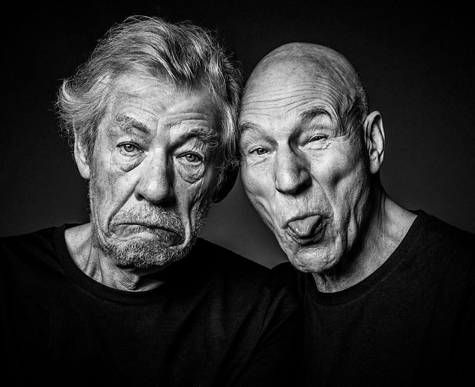 The two sirs, Ian McKellan and Patrick Stewart. Hope I'm half as cool as they are when I reach my 70s.