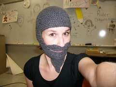 Crocheting a hat with a mustache!