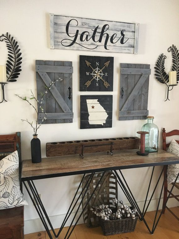 Gather sign piece set gallery wall by elevenowlsstudio wood mountain house also best farm images home decor decorations bathroom rh pinterest
