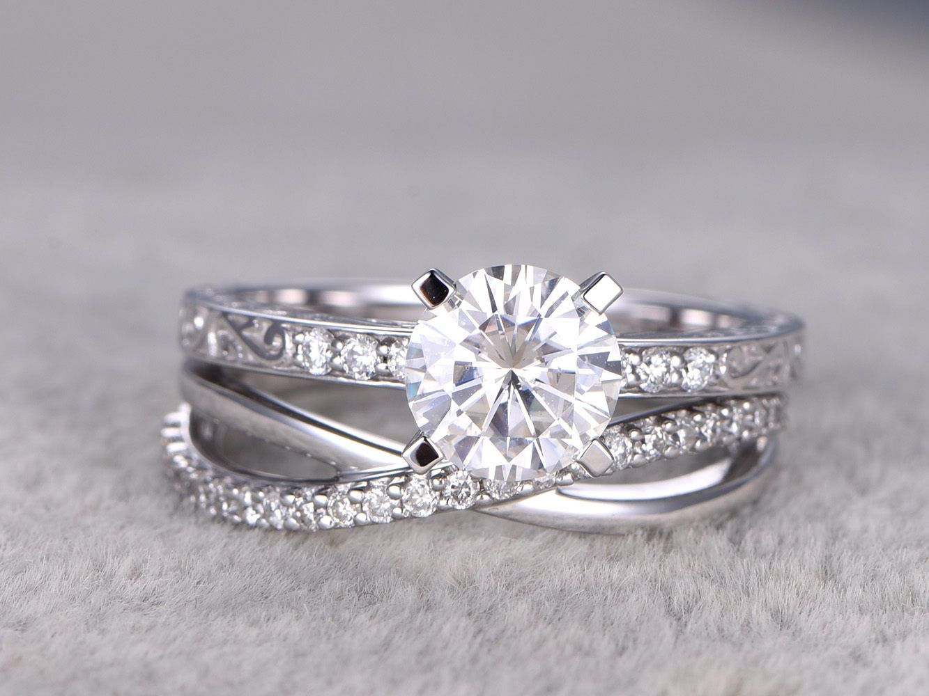 2 Moissanite Bridal Set,solitaire Engagement Ring,criss Cross Wedding Band, Diamond,
