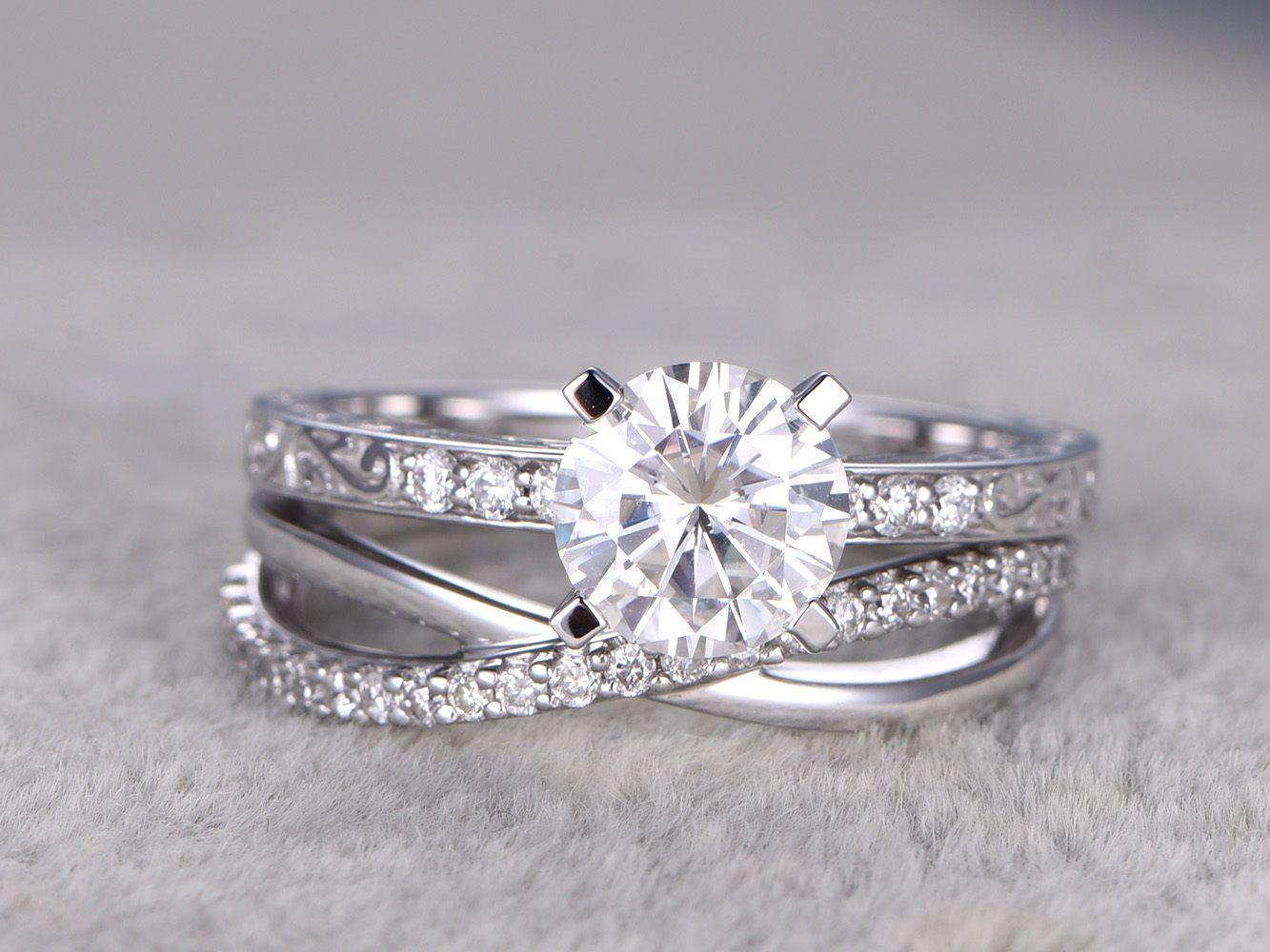 2 Moissanite Bridal Set Solitaire Engagement Ring Criss Cross