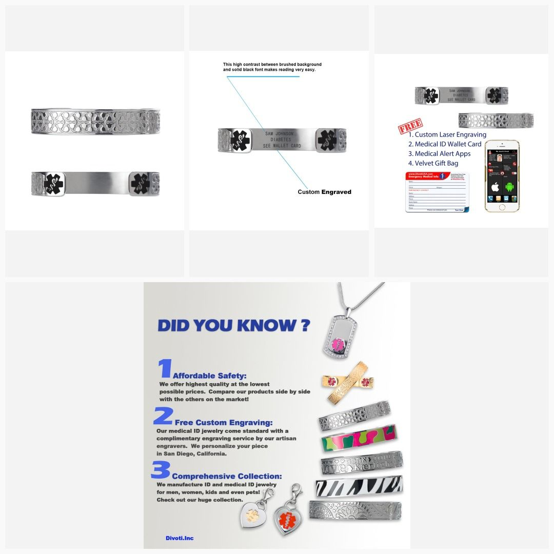 Free Card! Custom engraved Medical ID Alert Dog Tag Free 6 lines of engraving