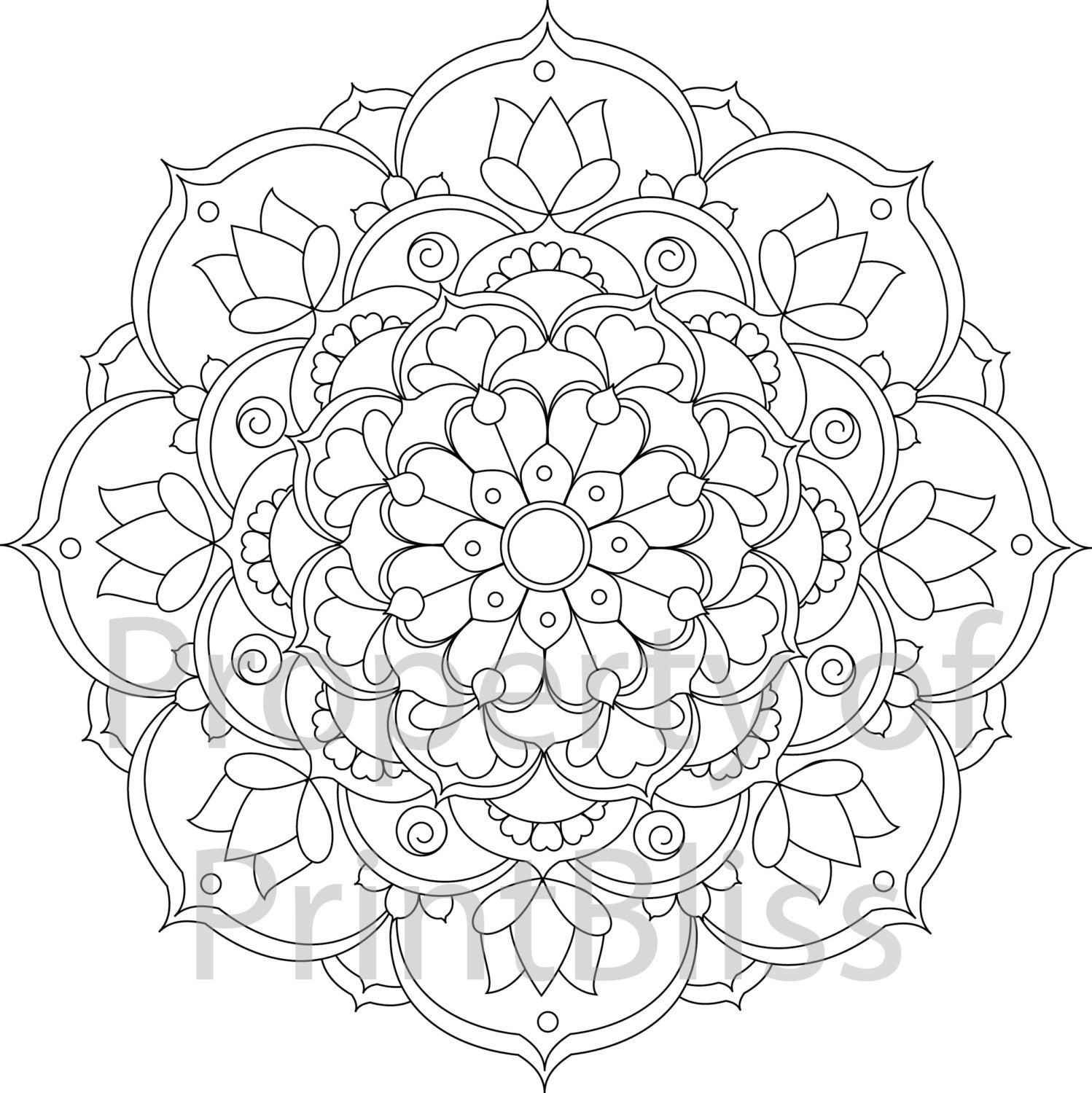 24 flower mandala printable coloring page by printbliss on etsy art my work mandala. Black Bedroom Furniture Sets. Home Design Ideas
