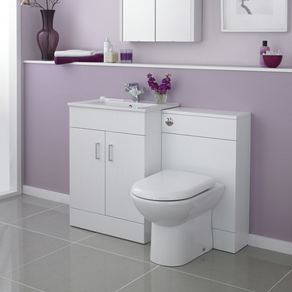 White Bathroom Suite Turin High Gloss White Vanity Unit Bathroom Suite W1100 X D400