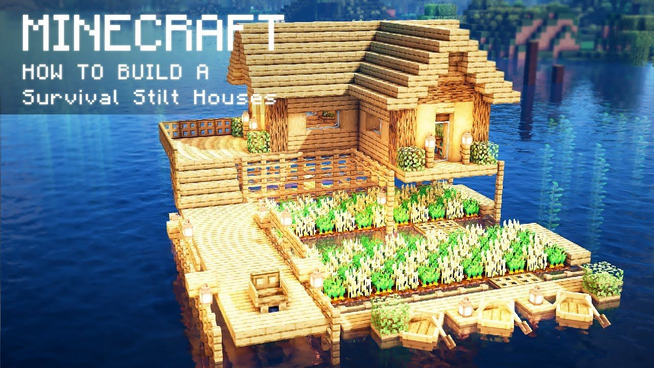 Minecraft: How To Build a Survival Stilt Houses on water  Cute