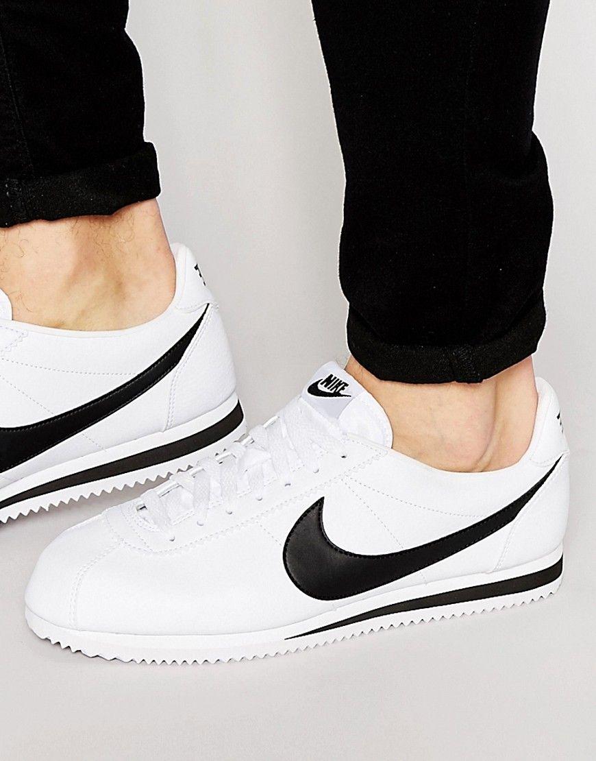 Seje Nike Cortez Leather Trainers 749571-100 - White Nike Løbesko til Herrer i lækker kvalitet