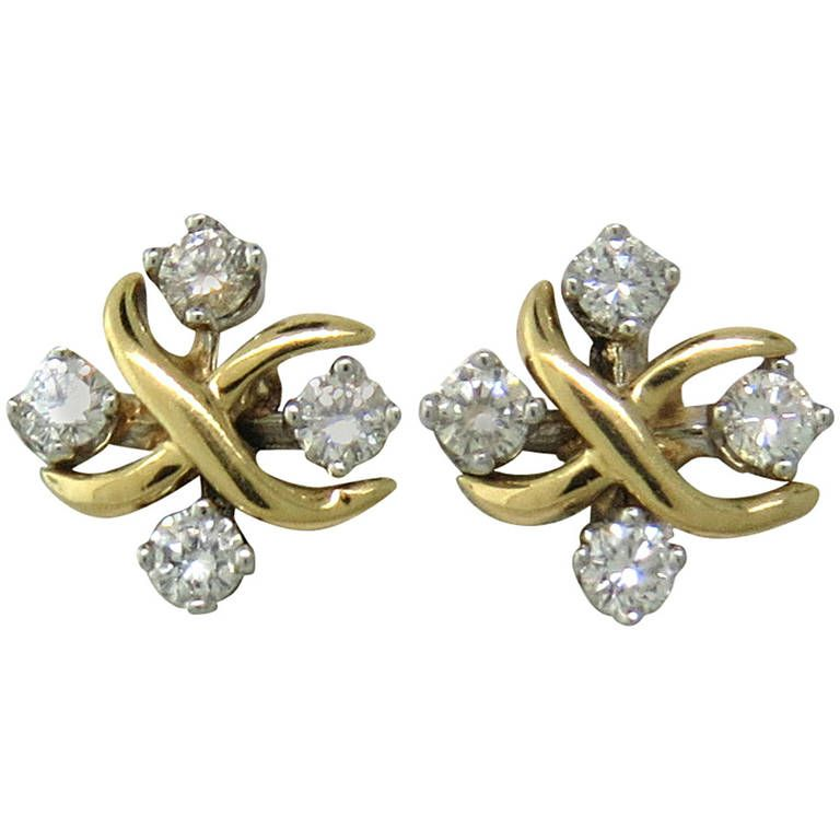 fc89ed898 Schlumberger Lynn Diamond Gold Platinum Stud Earrings. 18k gold and  platinum earrings by Jean Schlumberger for Tiffany & Co from current Lynn  collection.