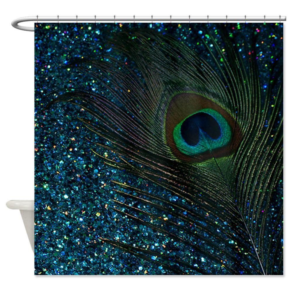 Amazon Com Cafepress Glittery Aqua Peacock Shower Curtain