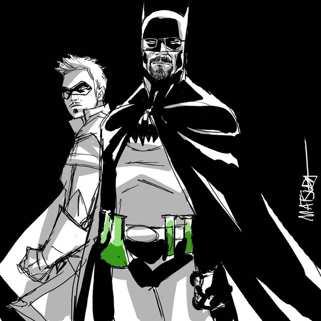 Breaking Bad Batman + Robin...best. mashup. EVER. art by Jeff Matsuda