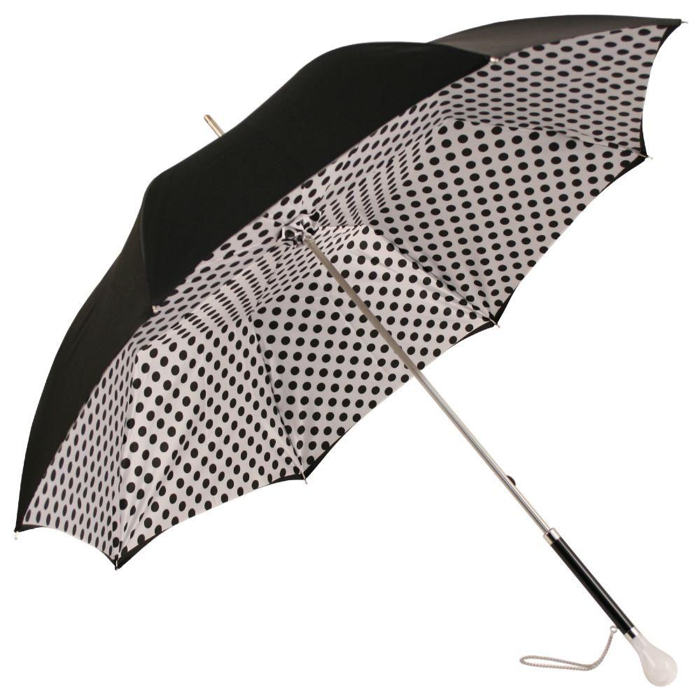 c14b8cd30 Fantasia Black & White Polka Dot Umbrella with Luxury Ball Handle by Pasotti