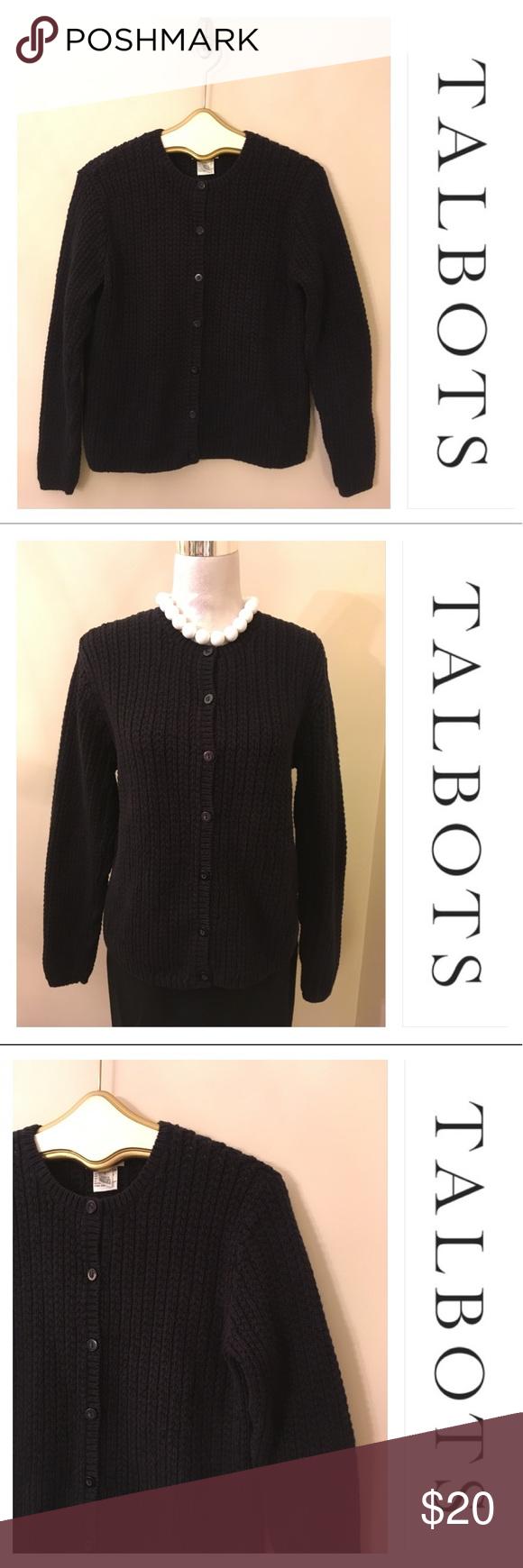 TALBOTS Dark Navy Blue Heavy Cotton Sweater L | Dark navy blue ...