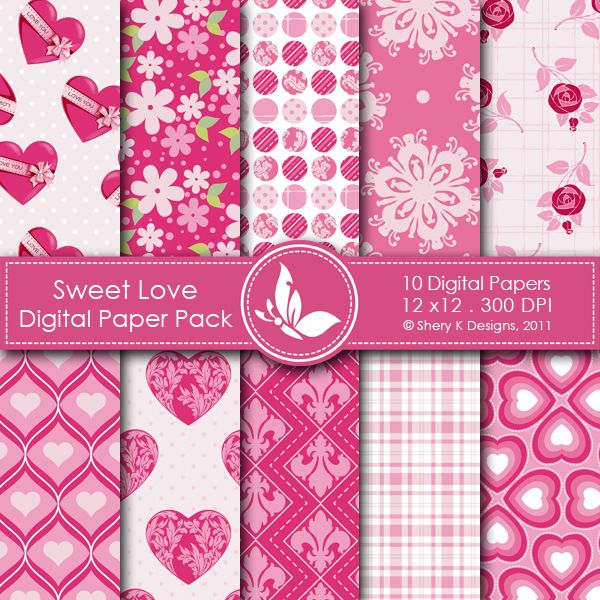 Sweet Love This listing is for 10 printable High Quality Digital papers. Each paper measures 12 x 12 inch, 300 DPI, JPEG format. Great for scrapbooking, making cards, invitations, tags and photographers. Keywords: Pink, Grey, Black & White, Text, Valentine, Ornament, Flowers, Argyle, Strips, Polka Dots, Love, Music Note, Script, Paris, Valentine's day, Valentine, Scrapbooking Paper, Digital Papers, Shery K Designs, Printable Papers, Printable Background, Printable Patterns.