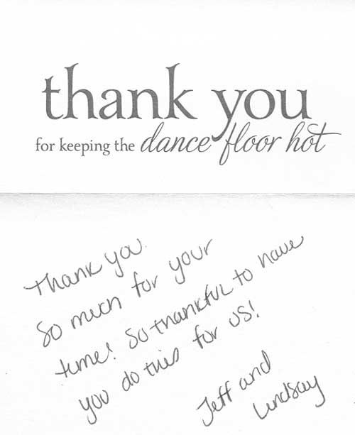 Loved this unique thank you note from a previous client
