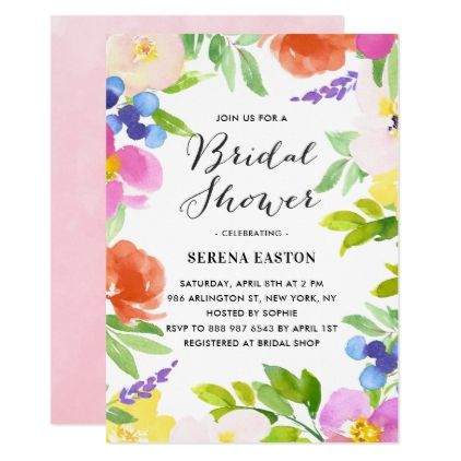 Watercolor Spring Flowers Bridal Shower Invitation floral style