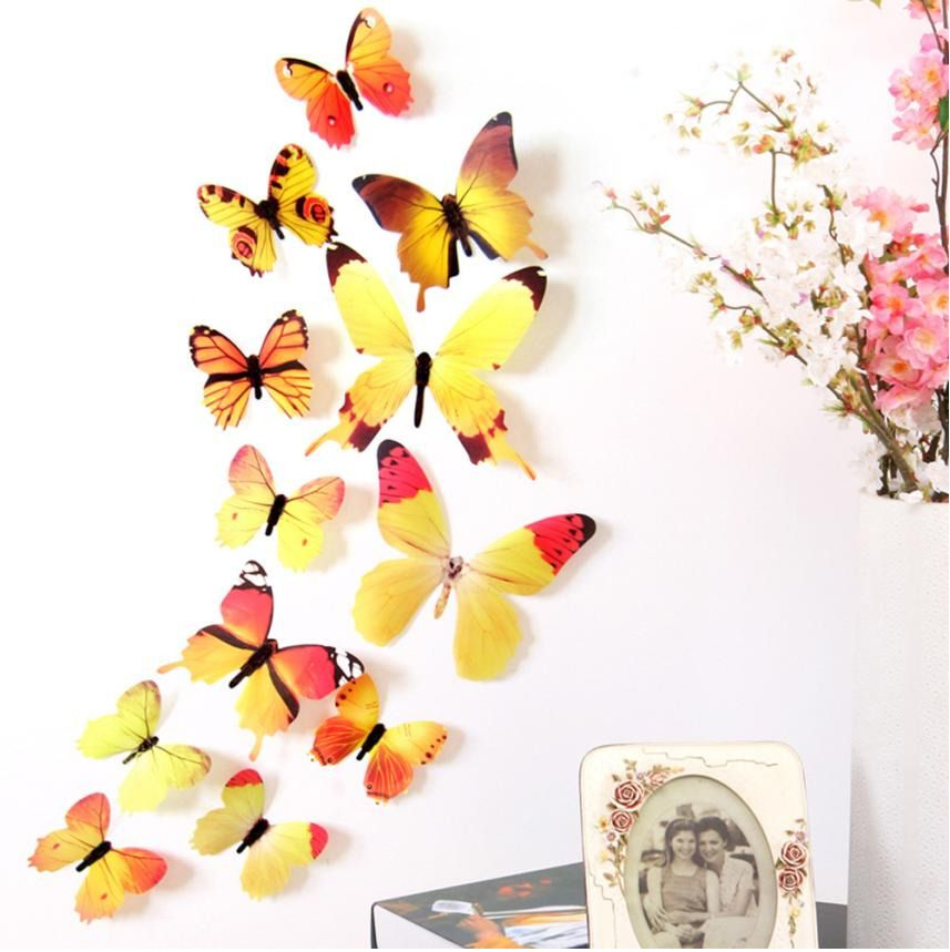 12pcs Decal Wall Stickers Home Decorations 3D Butterfly Rainbow ...