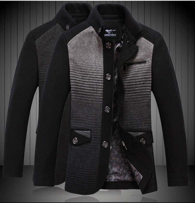 2013 New Men Elegant Chic Wool Pea Coat Fashion Casual Woolen Jacket High Quality  $57.20