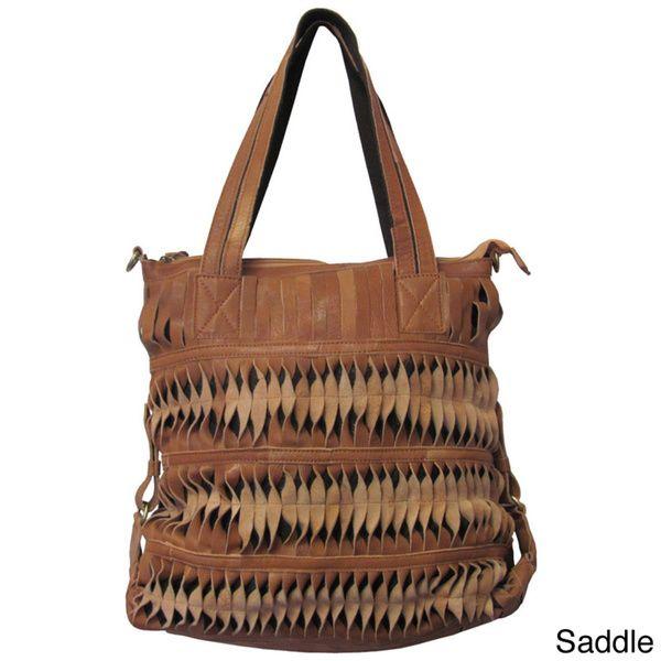 Amerileather Oida Zip-top Leather Handbag with Cop