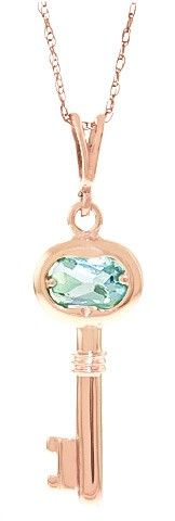 eb29c5074 14K Rose Gold Key Charm Necklace with 0.50ct Aquamarine Pendant ...